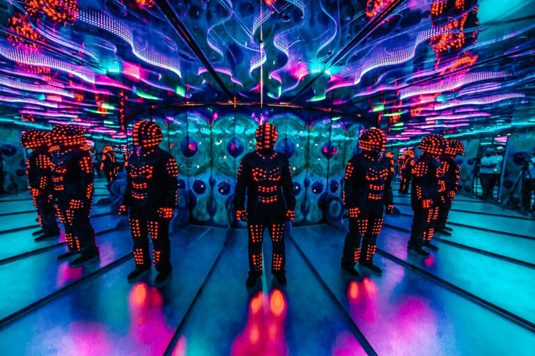 Enjoy all the neon lights as you're fully immersed into this colorful world.