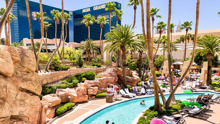 Enjoy a day at the stunning pools of the MGM Grand in Las Vegas.
