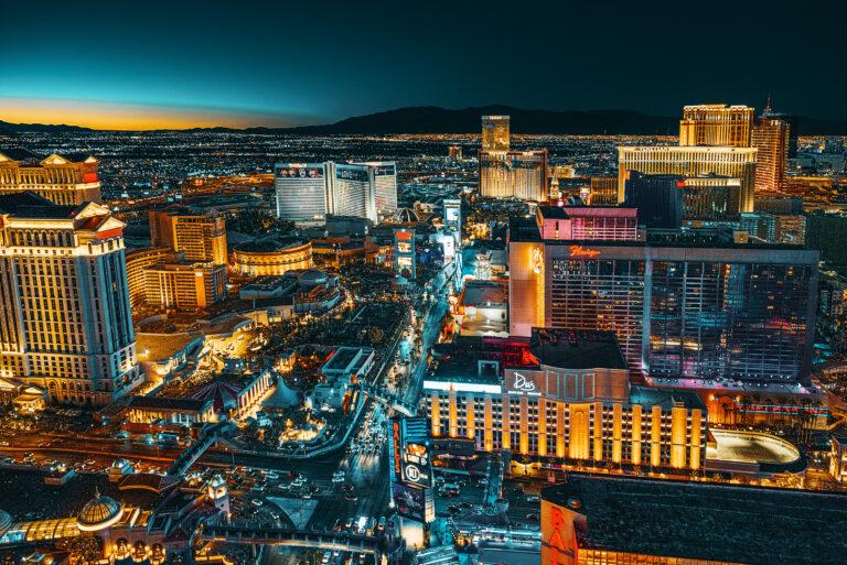 Las Vegas Strip as the lights come on